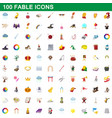 100 fable icons set cartoon style vector image vector image