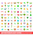 100 microbiology icons set cartoon style vector image vector image