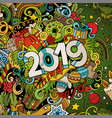 2019 hand drawn doodles colorful new vector image vector image