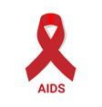 aid icon with red awareness ribbon on white vector image vector image