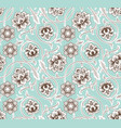 asian ornament with flowers on blue background vector image vector image