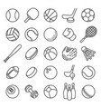 ball sports line icons outline equipment for vector image