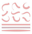 baseball laces set baseball stitches with red vector image vector image