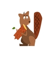 Beaver Holding A Log Flat Cartoon vector image