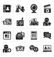 Black social networking and communication icons vector image vector image