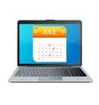 calendar icon on screen laptop monitor vector image