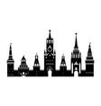 cartoon silhouette black kremlin palace russia vector image vector image