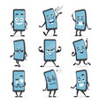 cartoon smartphone cute character funny device set vector image vector image