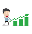 cartoon with growth success business gree vector image vector image