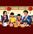 chinese family eating dim sum vector image vector image