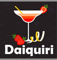 daiquiri glass of cocktail strawberry background v vector image vector image