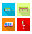 design of train and station sign set of vector image vector image