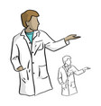 doctor with left hand open to blank space vector image vector image