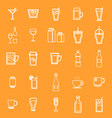 Drink line icons on orange background vector image vector image