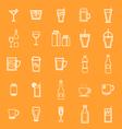 Drink line icons on orange background vector image