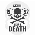 Fear and death print Skull and cross bones logo vector image