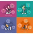 Fitness Gym Training 2x2 Icons Set vector image