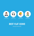 flat icon call set of earphone hotline call vector image vector image