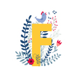 floral alphabet letter f vector image vector image