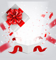 fly white open gift box with ribbon on white vector image vector image