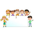 funny kids holding blank banner for your text vector image