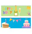 happy birthday party celebration cards vector image vector image