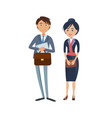 happy businessman with briefcase and lady boss vector image