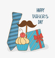 happy fathers day card with set icons vector image vector image