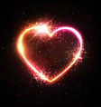 heart background on black brick wall neon sign vector image