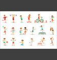 kids practicing different sports and physical vector image vector image