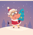 little cute bull dressed as santa claus and vector image vector image