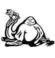 lying camel black white vector image vector image