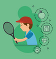 man playing tennis with sports icons vector image