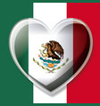 mexican flag colorful silhouette with 3d heart vector image vector image