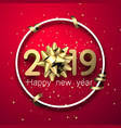 red 2019 happy new year card with gold bow and vector image vector image