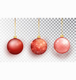 red christmas tree toy set isolated vector image vector image