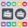 Rent icon sign A set of 12 colored buttons Flat vector image vector image