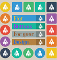 Rocket icon sign Set of twenty colored flat round vector image