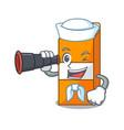 sailor with binocular package juice mascot cartoon vector image vector image