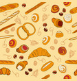 seamless bakery background with cartoon goods vector image