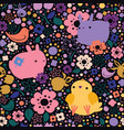 seamless easter pattern with rabbits and birds vector image vector image