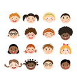 set of children smiling faces vector image