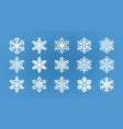 set of different snowflakes winter wintertime vector image