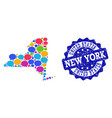 social network map of new york state with message vector image vector image