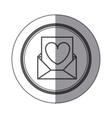 sticker circular shape with Valentine romantic vector image vector image