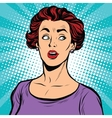 Surprised pop art woman looking sideways vector image vector image