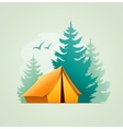 Tent in forest camping vector image vector image