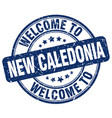 welcome to new caledonia blue round vintage stamp vector image vector image