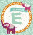 ABC animals E is elephant Childrens english vector image