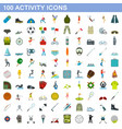 100 activity icons set flat style vector image vector image